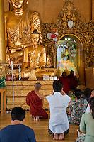 Myanmar, Burma.  Shwedagon Pagoda, Yangon, Rangoon.  Worshippers Praying at Buddha Shrine.