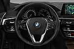 Car pictures of steering wheel view of a 2018 BMW 5 Series 530i 2WD 4 Door Sedan