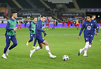 SWANSEA, WALES - NOVEMBER 12: Antonee Robinson #5, Giovanni Reyna #7 and Weston McKennie #8 of the United States national team warming up before a game between Wales and USMNT at Liberty Stadium on November 12, 2020 in Swansea, Wales.