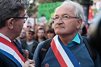 JEAN-LUC MELENCHON, JACQUES CHEMINADE - MANIFESTATION DE LA FRANCE INSOUMISE A PARIS, FRANCE, LE 23/09/2017.