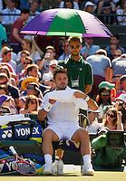 England, London, Juli 06, 2015, Tennis, Wimbledon, Stan Wawrinka (SUI) during changeover in his match against David Goffin of Belgium<br /> Photo: Tennisimages/Henk Koster