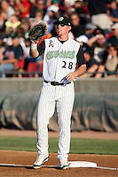 August 17 2008:  First baseman Greg Dowling of the Kane County Cougars, Class-A affiliate of the Oakland Athletics, during a game at Philip B. Elfstrom Stadium in Geneva, IL.  Photo by:  Mike Janes/Four Seam Images
