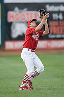 Left fielder Ross Smith #28 of the Johnson City Cardinals settles under a fly ball at Howard Johnson Field August 1, 2009 in Johnson City, Tennessee. (Photo by Brian Westerholt / Four Seam Images)