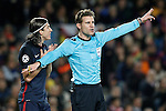 Atletico de Madrid's Filipe Luis have words with german referee Felix Brych during Champions League 2015/2016 match. April 5,2016. (ALTERPHOTOS/Acero)