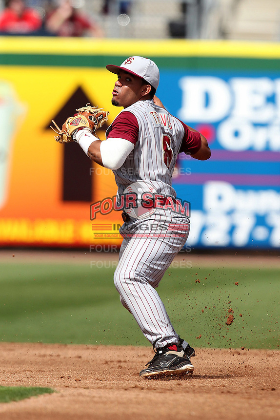 Florida State Seminoles second baseman Devon Travis #8 during a scrimmage against the Philadelphia Phillies at Brighthouse Field on February 29, 2012 in Clearwater, Florida.  Philadelphia defeated Florida State 6-1.  (Mike Janes/Four Seam Images)