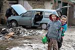 Roma children in Srbobran, Serbia.