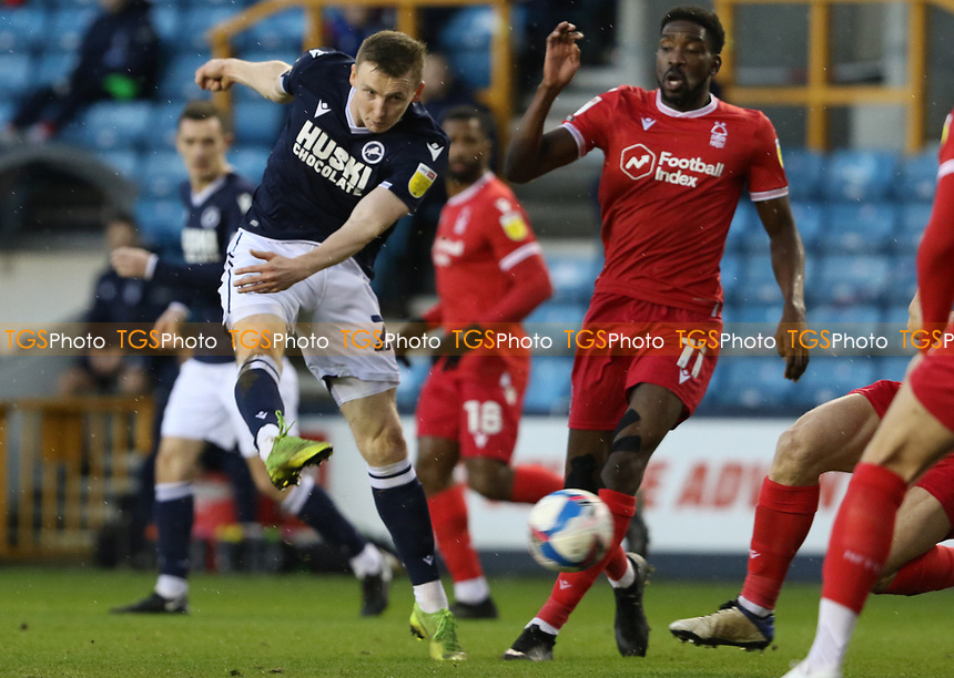 Jon Daoi Boovarsson of Millwall shot goes wide during Millwall vs Nottingham Forest, Sky Bet EFL Championship Football at The Den on 19th December 2020