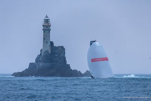 The five leaders in the 12th CIC Normandy Channel Race rounded Fastnet Rock at dawn this morning