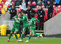 Brad Potts (No 44) celebrates scoring Preston North End's third goal during Brentford vs Preston North End, Sky Bet EFL Championship Football at the Brentford Community Stadium on 4th October 2020