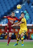 Football, Serie A: AS Roma - Parma, Olympic stadium, Rome, November 22, 2020. <br /> Roma's Borja Mayoral (l) in action with Parma's Yordan Osorio (r) during the Italian Serie A football match between Roma and Parma at Rome's Olympic stadium, on November 22, 2020. <br /> UPDATE IMAGES PRESS/Isabella Bonotto