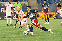 FOXBOROUGH, MA - SEPTEMBER 04: Damian Rivera #72 of New England Revolution II advances the ball down the midfield during a game between Forward Madison FC and New England Revolution II at Gillette Stadium on September 04, 2020 in Foxborough, Massachusetts.