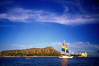 Diamond Head with sail boat, Oahu
