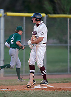 Braden River Pirates pitcher Logan Waldschmidt (15) celebrates after hitting a triple during a game against the Venice Indians on February 25, 2021 at Braden River High School in Bradenton, Florida. (Mike Janes/Four Seam Images)