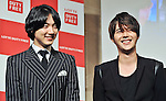 Geoni and Jihyuk(Choshinsung, Supernova), Aug 30, 2013 : Tokyo, Japan :Geonil (L) and Jihyuk of Korean boy band Supernova attend a press conference for new promotion video of Lotte Duty Free shop in Tokyo, Japan, on August 30, 2013.