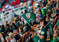 5th June 2021; Brentford Community Stadium, London, England; Gallagher Premiership Rugby, London Irish versus Wasps; London Irish fan waving London Irish flag