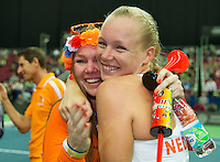 Moskou, Russia, Februari 7, 2016,  Fed Cup Russia-Netherlands, Kiki Bertens (NED) is being huged by her sister<br /> Photo: Tennisimages/Henk Koster