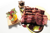 Modena, 23 February 2017 – The Ox rib-eye served with pickled vegetables,<br /> extra virgin olive oil potatoes and black truffle at Osteria Francescana, Modena, Italy. Photo Sydney Low