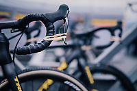 keeping the brakes on...<br /> Thibau Nys' (BEL) bike being kept race-ready<br /> <br /> Men's Junior race<br /> <br /> UCI 2019 Cyclocross World Championships<br /> Bogense / Denmark<br /> <br /> ©kramon