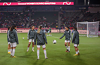 CARSON, CA - FEBRUARY 7: The Mexican Women's national team warming up during a game between Mexico and USWNT at Dignity Health Sports Park on February 7, 2020 in Carson, California.