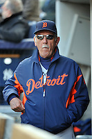 Apr 02, 2011; Bronx, NY, USA; Detroit Tigers manager Jim Leyland (10) before game against the New York Yankees at Yankee Stadium. Yankees defeated the Tigers 10-6. Mandatory Credit: Tomasso De Rosa