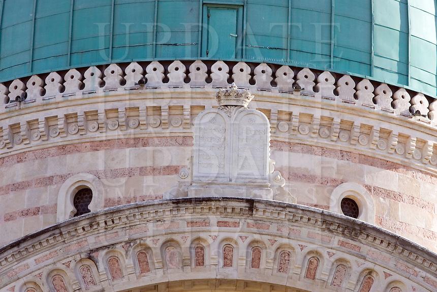 Un dettaglio dell'esterno della Sinagoga di Firenze.<br /> An exterior detail of the Synagogue of Florence.<br /> UPDATE IMAGES PRESS/Riccardo De Luca