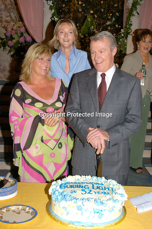 Frank Dicopoulos, Kim Zimmer, Jerry verDorn and Ellen Wheeler ..at the Guiding Light's 52nd Anniversary celebration on ..July 1, 2004 at the Guiding LIght Studio. ..Photo by Robin Platzer, Twin Images