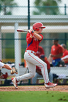 GCL Phillies center fielder Mickey Moniak (15) at bat during a game against the GCL Pirates on August 6, 2016 at Pirate City in Bradenton, Florida.  GCL Phillies defeated the GCL Pirates 4-1.  (Mike Janes/Four Seam Images)