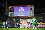 """25.09.2020, Stadion an der Bremer Brücke, Osnabrück, GER, 2. FBL VfL Osnabrück vs. Hannover 96<br />  <br />im Bild<br />Auf der Anzeigetafel steht """"Kein Körperkontakt!"""". Feature, Symbol, Symbolfoto, charakteristisch, Detail,<br /><br />DFL regulations prohibit any use of photographs as image sequences and/or quasi-video. <br /><br />Foto © nordphoto / Paetzel"""
