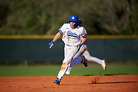 South Dakota State Jackrabbits designated hitter Luke Ira (1) running the bases during a game against the Northeastern Huskies on February 23, 2019 at North Charlotte Regional Park in Port Charlotte, Florida.  Northeastern defeated South Dakota State 12-9.  (Mike Janes/Four Seam Images)