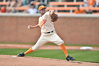 Tennessee Volunteers starting pitcher Hunter Martin (12) delivers a pitch during game one of a double header against the UC Irvine Anteaters at Lindsey Nelson Stadium on March 12, 2016 in Knoxville, Tennessee. The Volunteers defeated the Anteaters 14-4. (Tony Farlow/Four Seam Images)