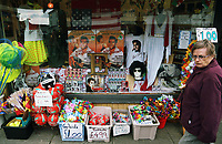 Pictured: Elvis Presley memorabilia and accessories on sale at a local shop. Friday 22 September 2017<br />