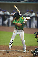 Marcus Smith (15) of the Down East Wood Ducks at bat against the Kannapolis Cannon Ballers at Atrium Health Ballpark on May 5, 2021 in Kannapolis, North Carolina. (Brian Westerholt/Four Seam Images)