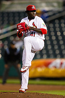 Maikel Cleto (41) of the Springfield Cardinals winds up during a game against the Northwest Arkansas Naturals on May 13, 2011 at Hammons Field in Springfield, Missouri.  Photo By David Welker/Four Seam Images.