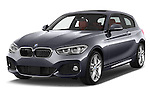 2015 BMW 1 Series M Sport 3 Door Hatchback Angular Front stock photos of front three quarter view