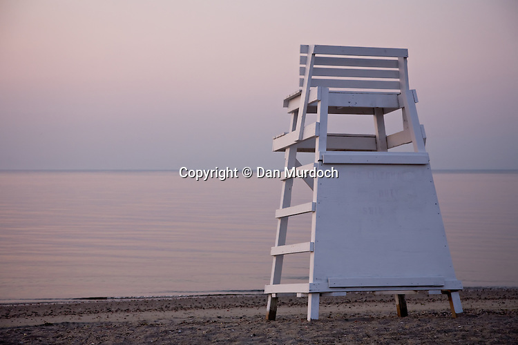 Empty lifeguard stand on a quiet morning