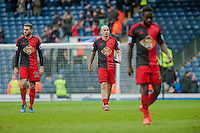 BLACKBURN, ENGLAND - JANUARY 24:  ( L-R ) Angel Rangel of Swansea City Jonjo Shelvey of Swansea City and Nathan Dyer of Swansea  leave the field at the end of the match during the FA Cup Fourth Round match between Blackburn Rovers and Swansea City at Ewood park on January 24, 2015 in Blackburn, England.  (Photo by Athena Pictures/Getty Images)