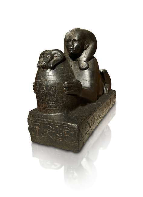 25th dynasty Egyptian granite Sphinx of Shepenepet II, god's wife of Amon. 660 BC, Karnak. Neues Reiche Museum, Berlin. Cat No AM7972