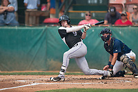 Grand Junction Rockies center fielder Will Golsan (11) follows through on his swing in front of catcher David Fry (5) during a Pioneer League game against the Helena Brewers at Kindrick Legion Field on August 19, 2018 in Helena, Montana. The Grand Junction Rockies defeated the Helena Brewers by a score of 6-1. (Zachary Lucy/Four Seam Images)