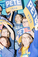 People cheer after Democratic presidential candidate and former South Bend, Ind., mayor Pete Buttigieg spoke at his Primary Night rally at Nashua Community College in Nashua, New Hampshire, on Tue., Feb. 11, 2020. Democratic presidential candidate and Vermont senator Bernie Sanders was projected to win the New Hampshire Democratic Primary, but Buttigieg came in a close second.