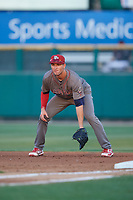 Lehigh Valley IronPigs first baseman Mitchell Walding (10) during a game against the Rochester Red Wings on September 1, 2018 at Frontier Field in Rochester, New York.  Lehigh Valley defeated Rochester 2-1.  (Mike Janes/Four Seam Images)