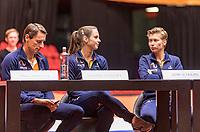 Den Bosch, The Netherlands, Februari 8, 2019,  Maaspoort , FedCup  Netherlands - Canada, Draw, Dutch team, captain Paul Haarhuis Bibiana Schoofs and Demi Schuurs<br /> Photo: Tennisimages/Henk Koster