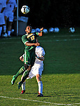 22 September 2008: University of Vermont Catamounts' midfielder Mark Okoko, a Freshman from Sheffield, England, in action against the Colgate University Raiders at Centennial Field, in Burlington, Vermont. The Raiders edged out the Catamounts 2-1, handing the Soccer Catamounts their first home loss of the 2008 season. ..Mandatory Photo Credit: Ed Wolfstein Photo