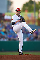 Tri-City ValleyCats pitcher Alex Winkelman (17) delivers a pitch during a game against the Brooklyn Cyclones on September 1, 2015 at Joseph L. Bruno Stadium in Troy, New York.  Tri-City defeated Brooklyn 5-4.  (Mike Janes/Four Seam Images)