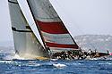 Louis Vuitton Trophy La Maddalena 3 giugno 2010. Mascalzone Latino impegnato in una delle prove dei quarti di finale con Synergy Russian Sailing Team conclusi con la vittoria dei russi
