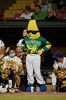 Savannah Bananas mascot Split during a Coastal Plain League game against the Macon Bacon on July 15, 2020 at Grayson Stadium in Savannah, Georgia.  (Mike Janes/Four Seam Images)