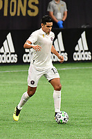 ATLANTA, GA - SEPTEMBER 02: Victor Ulloa #13 of Inter Miami CF dribbles the ball during a game between Inter Miami CF and Atlanta United FC at Mercedes-Benz Stadium on September 02, 2020 in Atlanta, Georgia.