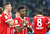 17.02.2018, Football 1. Bundesliga 2017/2018, 23.  match day, VfL Wolfsburg - FC Bayern Muenchen, in Volkswagen Arena Wolfsburg. celebration  Bayern , David Alaba (mi., Bayern Muenchen)  *** Local Caption *** © pixathlon<br /> <br /> Contact: +49-40-22 63 02 60 , info@pixathlon.de