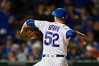 Chicago Cubs pitcher Justin Grimm (52) delivers a pitch in the sixth inning during Game 4 of the Major League Baseball World Series against the Cleveland Indians on October 29, 2016 at Wrigley Field in Chicago, Illinois.  (Mike Janes/Four Seam Images)