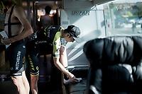 race prep in the Mitchelton-Scott teambus<br /> <br /> Stage 17: Aranda de Duero to Guadalajara (220km)<br /> La Vuelta 2019<br /> <br /> ©kramon