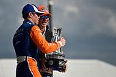 Scott Dixon, Chip Ganassi Racing Honda receives trophy in victory lane